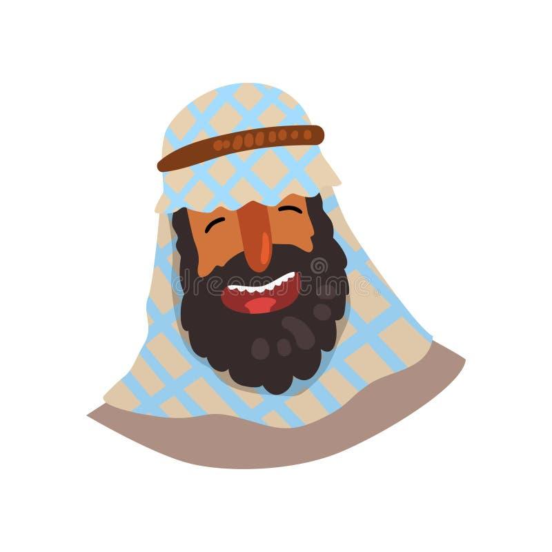 keffiyeh的快乐的埃及人 成年男性漫画人物与大黑胡子的 传统头饰的阿拉伯人 库存例证