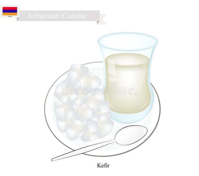 Kefir lub ormianin Fermentujący mleko z Kwaśnym smakiem royalty ilustracja