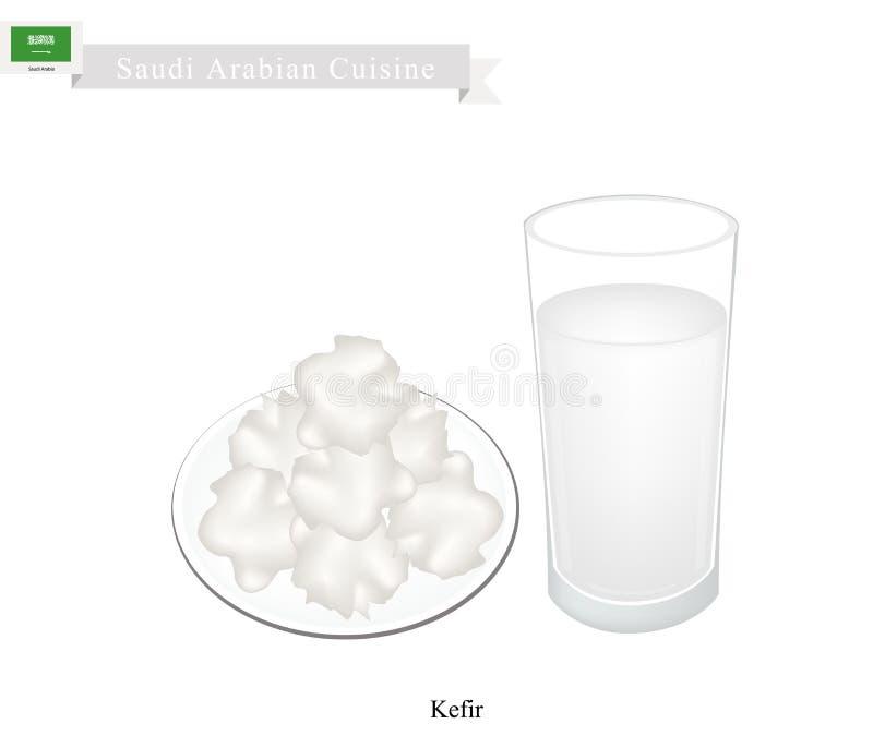 Kefir lub saudyjczyk - arabski Fermentujący mleko z Kwaśnym smakiem ilustracja wektor