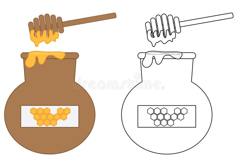 Keg of honey. Coloring page. Educational game for children. vector illustration