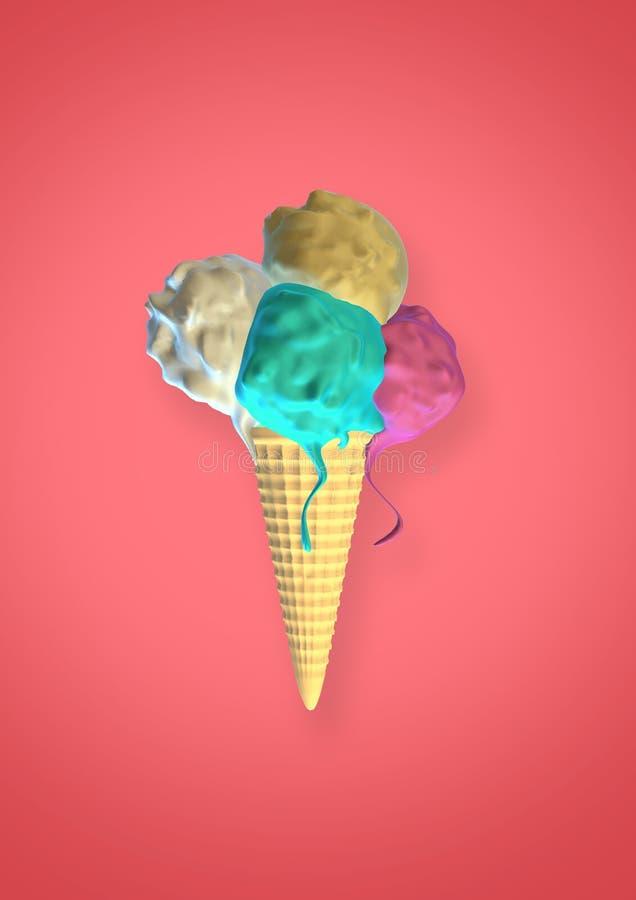 Kegel-Eiscreme-Schmelzen 3D Digital 4 stockfotografie