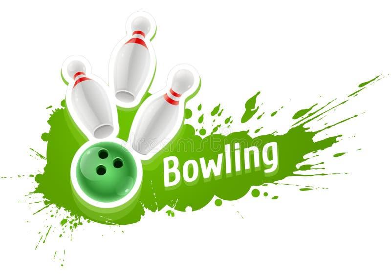 Kegel und Ball für das Spielen des Bowlingspielspiels lizenzfreie abbildung