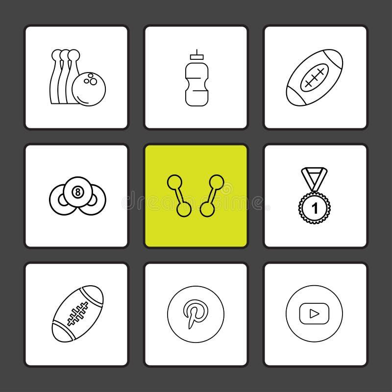 kegelen, medaille, het meest pintrest rugby, dumbell, sporten, spelen vector illustratie