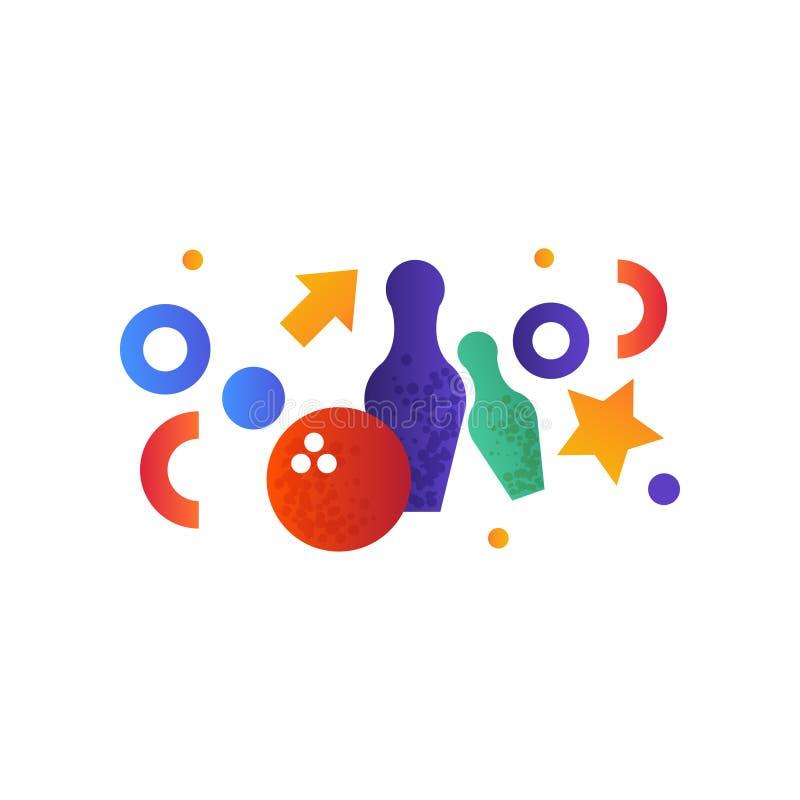 Kegelenspelden en bal vectorillustratie op een witte achtergrond vector illustratie