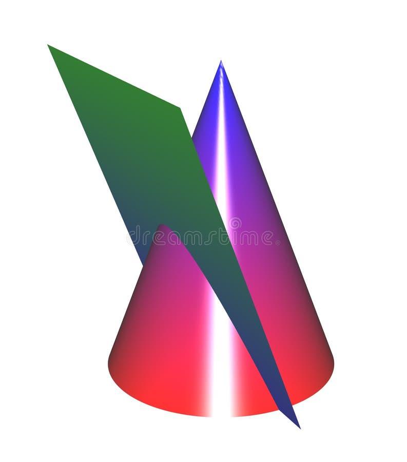 Kegelsecties: Colorizedparabool zonder net vector illustratie