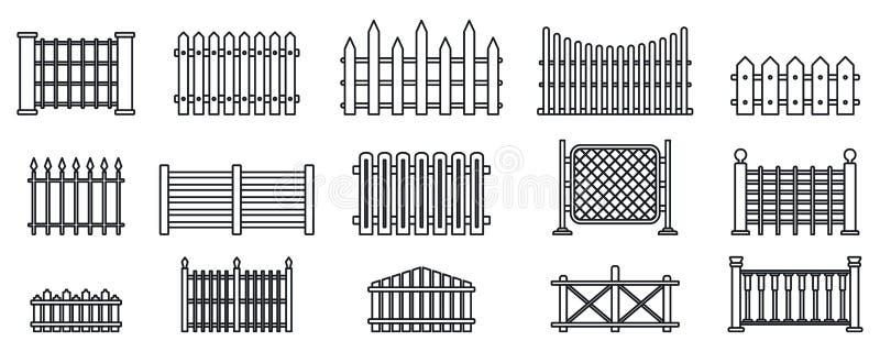 Kegelvormige omheining in de tuin, omlijningsstijl vector illustratie