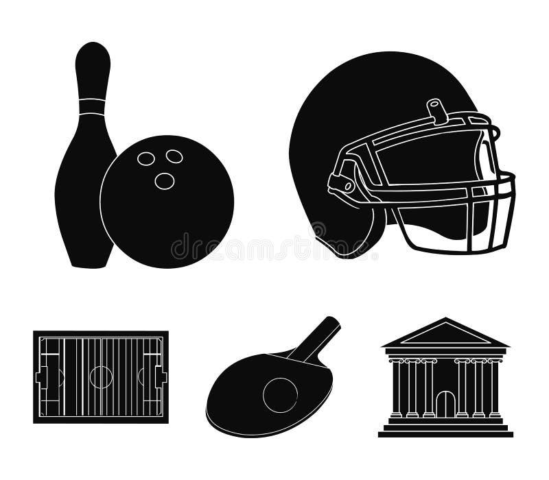 Keglie och bowlingklot, skyddande hjälm för rugby, racket och boll för att spela bordtennisen, fält, stadion för fotboll royaltyfri illustrationer