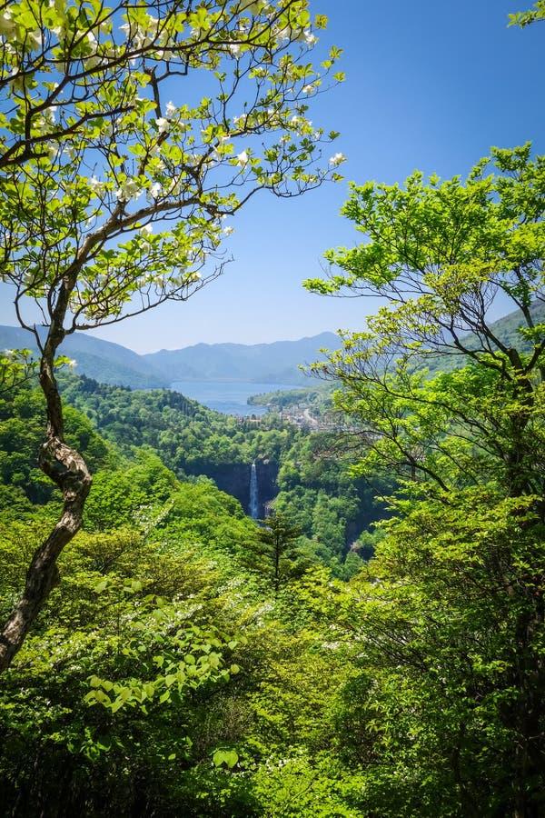 Kegon nedgångar och Chuzenji sjö, Nikko, Japan royaltyfri foto