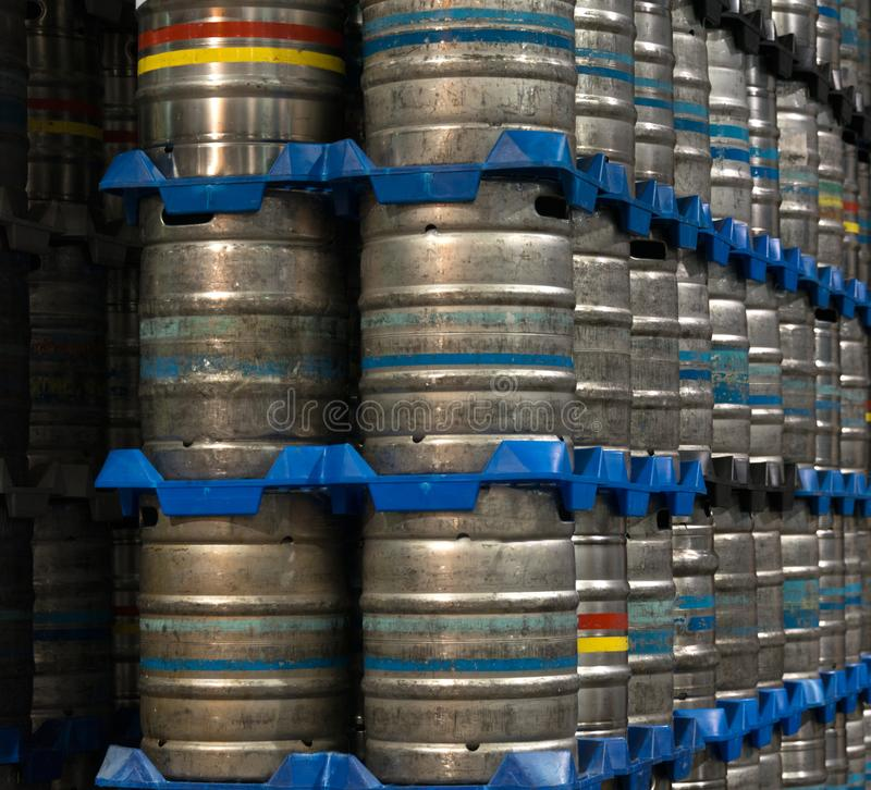 Kegs of Beer. In a brewery stock photography