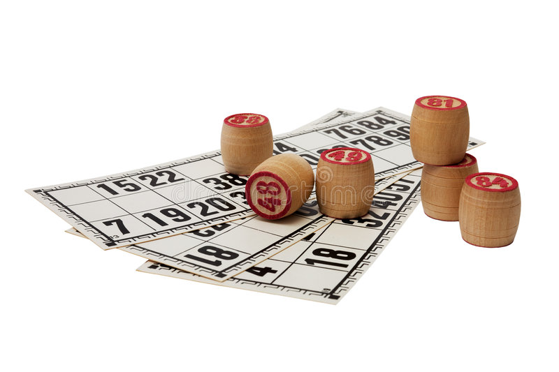 Kegs of a lotto. Wooden kegs with pink figures on game cards royalty free stock image