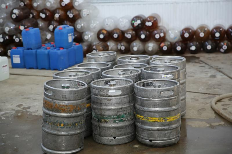 Kegs for the production of beer, wine.Industry Brewing and winemaking. Equipment for the winery and brewing. Kegs for the production of beer, wine.Industry stock photography
