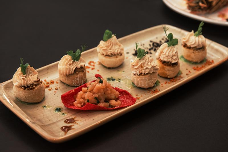 Kegs with salmon fish and cream sauce. Tasty restaurant dish stock images