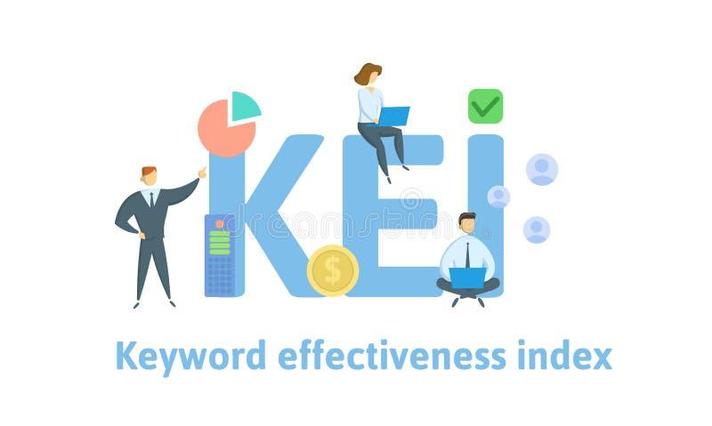 KEI, индекс эффективности ключевого слова Концепция с людьми, письмами и значками r r иллюстрация вектора