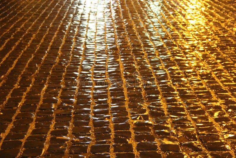 Keibrug na regen bij nacht in koplamp royalty-vrije stock afbeeldingen