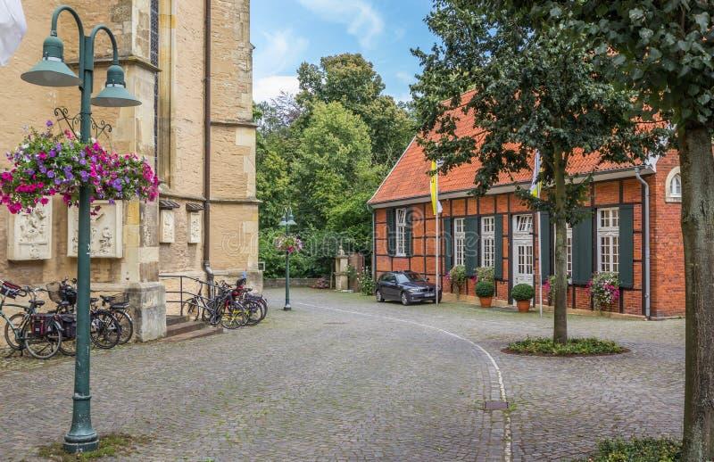 Keienstraat in het historische centrum van Telgte royalty-vrije stock foto