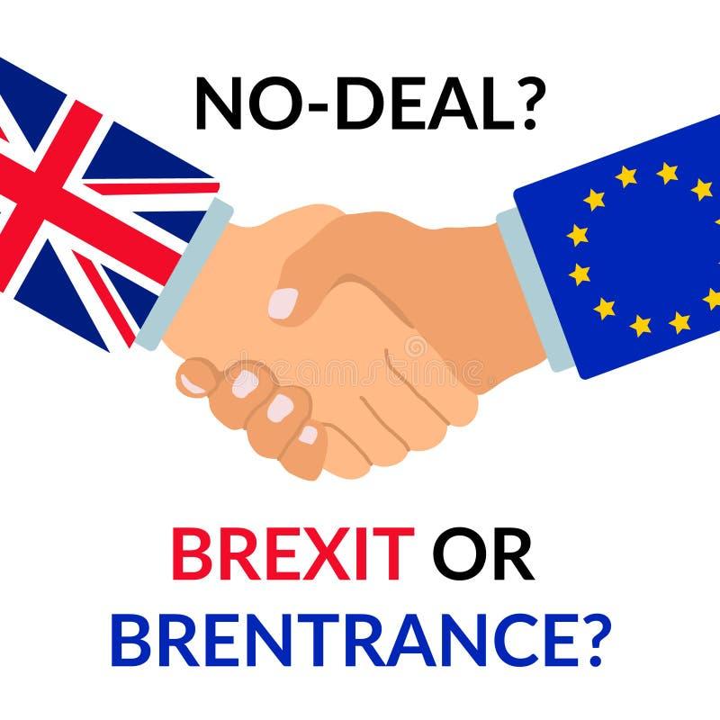 Kein Abkommen Brexit oder Brentrance-Entwurf Händedruck mit Ärmeln mit Flagge der Europäischen Gemeinschaft und Großbritannien-Fl vektor abbildung