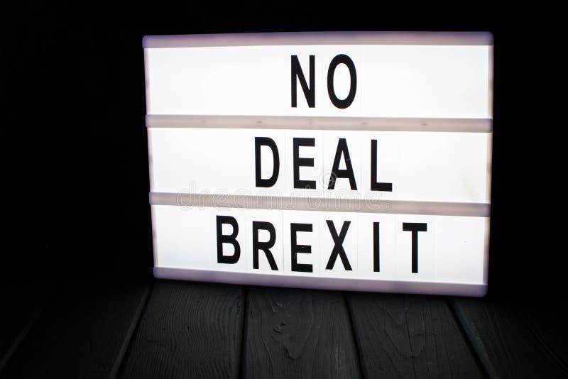 Kein Abkommen brexit Text im lightbox lizenzfreies stockbild