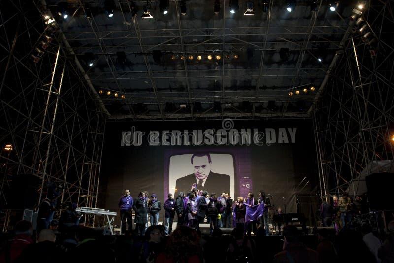 Kein Berlusconi Tag, Rom 5/12/09 lizenzfreie stockfotos