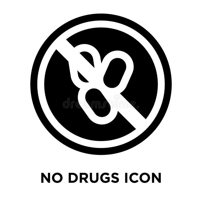 Kein Drogenikonenvektor lokalisiert auf weißem Hintergrund, Logokonzept stock abbildung