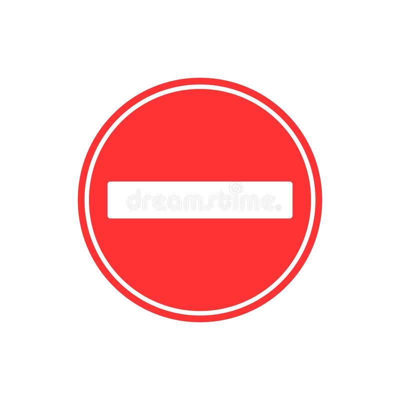 Kein Eintragzeichen Vektorillustration, flaches Design stock abbildung