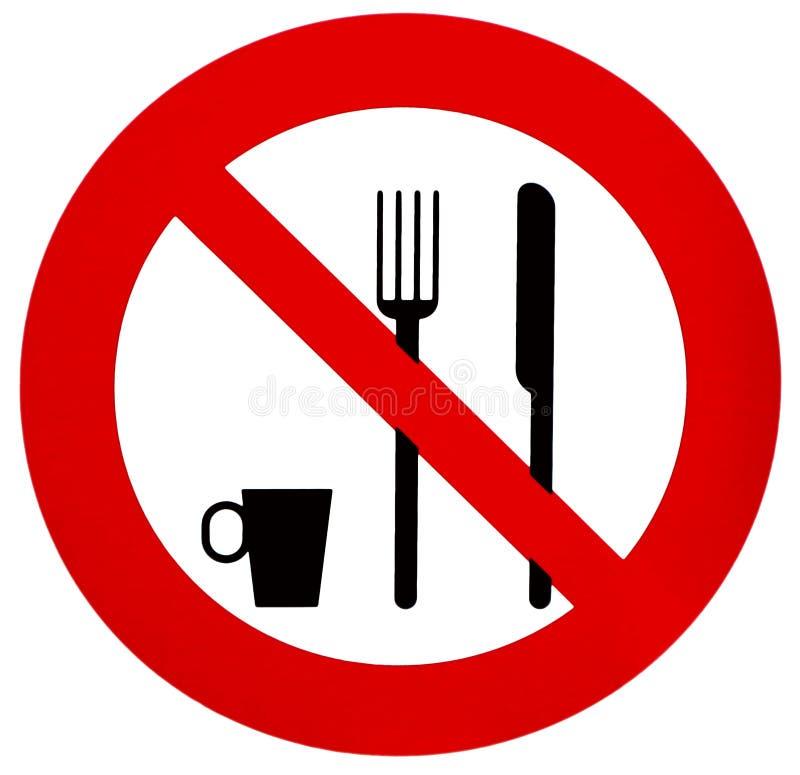 Kein Essen oder Trinken, Verbotszeichen, mit dem Schattenbild der Gabel, des Messers und der Kaffeetasse stock abbildung