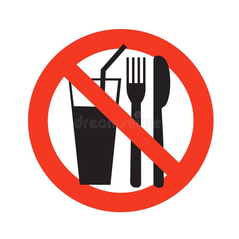 Kein essendes und trinkendes Zeichenverbot auf Lebensmittel verbotenem Schwarzem im Rot vektor abbildung