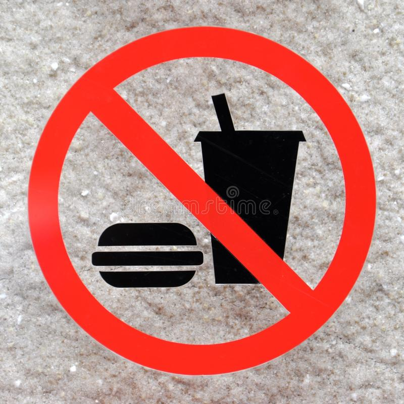 Kein Essenzeichen auf einem Steinhintergrund stockfotos