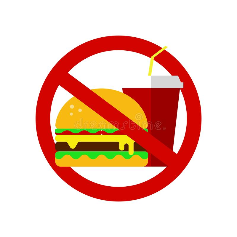 Kein Fastfoodzeichen verbotener Hamburger und Kolabaum Richtige Nahrung, Nahrungsmittelgesundheitswesen Ungesunde Produkte, Ikone lizenzfreie abbildung