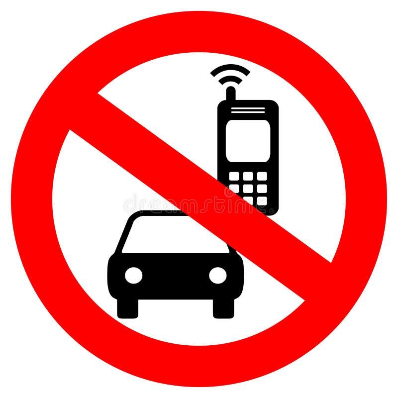 Kein Handy beim Fahren des Vektorzeichens vektor abbildung