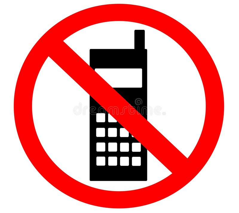 Kein Handy verboten verboten nicht gewährt stock abbildung