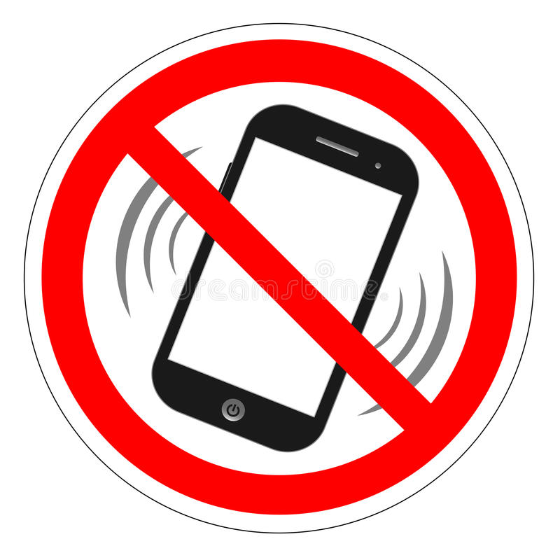 Kein Handyzeichen Handyruflautstärkestummzeichen Keine Smartphone erlaubte Ikone Kein nennender Aufkleber auf weißem Hintergrund  stock abbildung