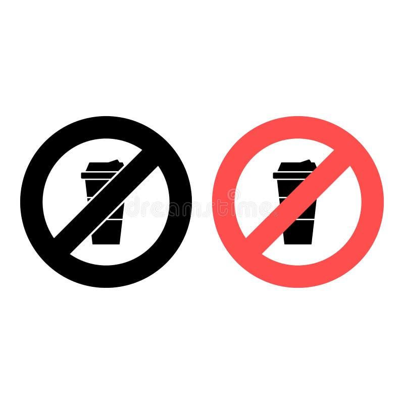 Kein Kaffee, Cappuccino, Trinken Ikone Einfache Glyphe, flacher Vektor für das Verbot von Lebensmitteln, Verbot, Embargo, Interdi stock abbildung