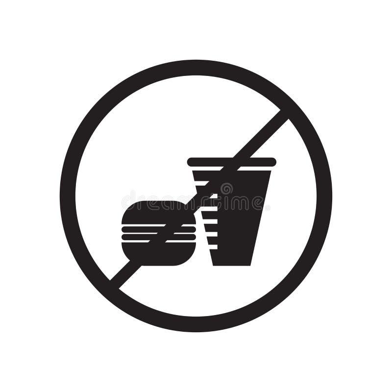 Kein Lebensmittelikonenvektorzeichen und -symbol lokalisiert auf weißem Hintergrund, kein Lebensmittellogokonzept stock abbildung