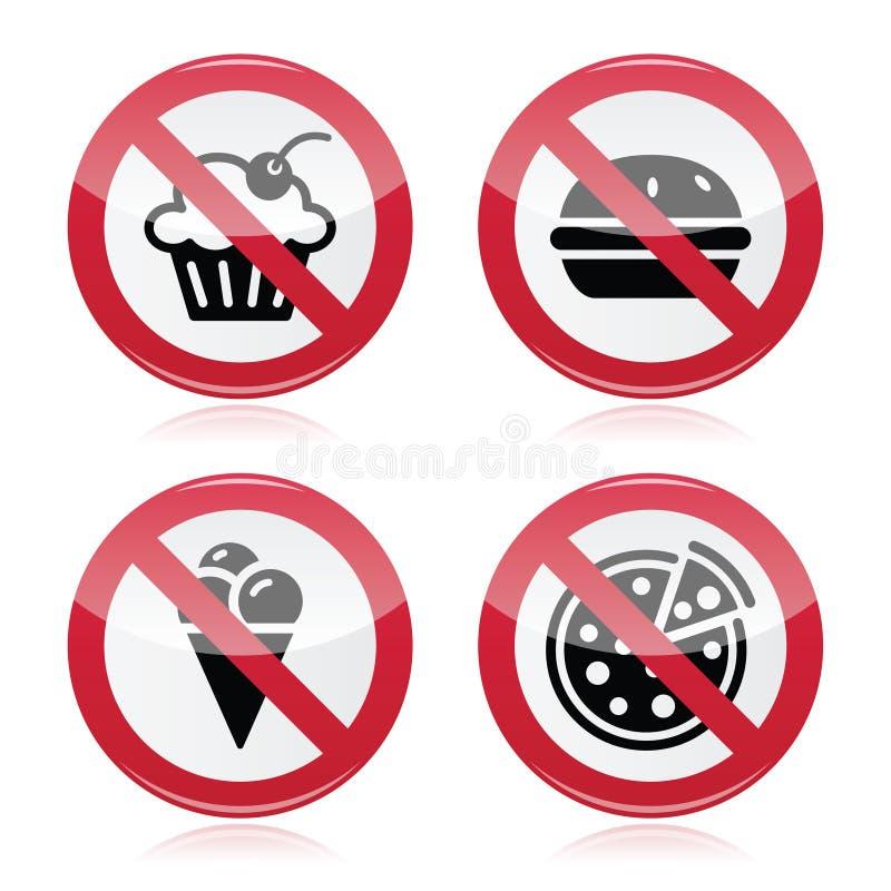Kein Schnellimbiß, keine Bonbons, die rotes Zeichen warnen stock abbildung