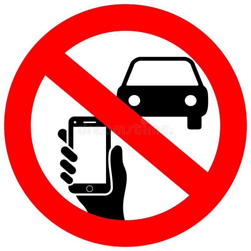 Kein Simsen und Telefongebrauch beim Fahren des Vektorzeichens lizenzfreie abbildung