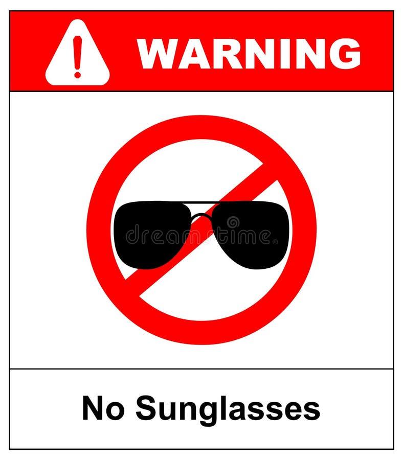 Kein Sonnenbrillezeichen Keine Verbot-Kreisikone des Fliegers rote auf weißem Hintergrund Nicht erlaubtes Symbol Verbotener Eintr vektor abbildung