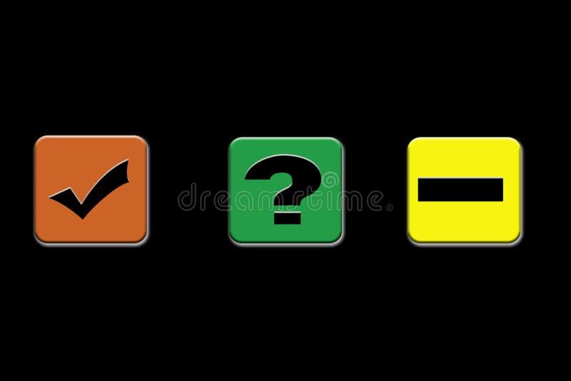 Kein, Zeckenkennzeichen und Fragezeichenzeichen oder Symbol oder Ikone auf den verschiedenen Körpern lokalisiert auf Schwarzem stock abbildung