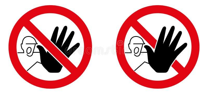 Kein Zeichen des unberechtigten Zugriffs Schreiender Mann mit schwarze Hand-stopp vektor abbildung