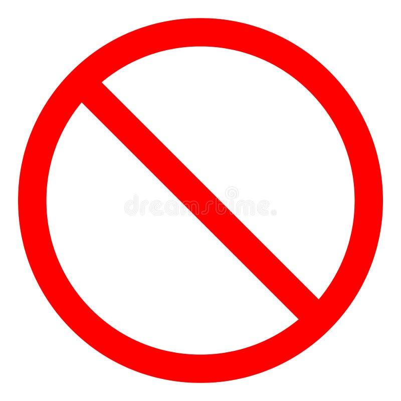 Kein Zeichen-leerer roter gekreuzter Heraus-Kreis, Zeichen-Isolat auf weißem Hintergrund, Vektor-Illustration ENV nicht erlaubt 1 lizenzfreie abbildung
