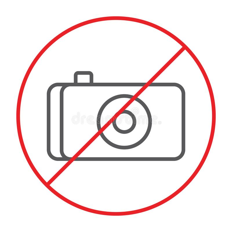 Keine dünne Linie des Fotos Ikone, verboten und Verbot, kein Kamerazeichen, Vektorgrafik, ein lineares Muster auf einem weißen Hi lizenzfreie abbildung