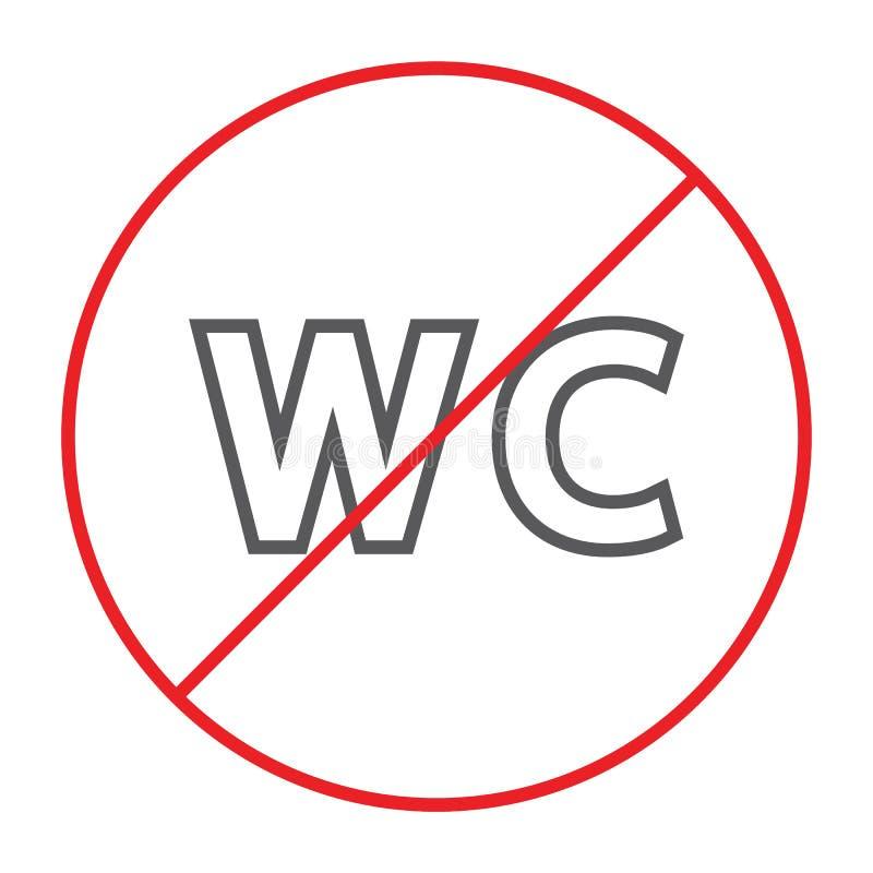 Keine dünne Linie Ikone WC, verboten und geschlossen, kein Toilettenzeichen, Vektorgrafik, ein lineares Muster auf einem weißen H stock abbildung