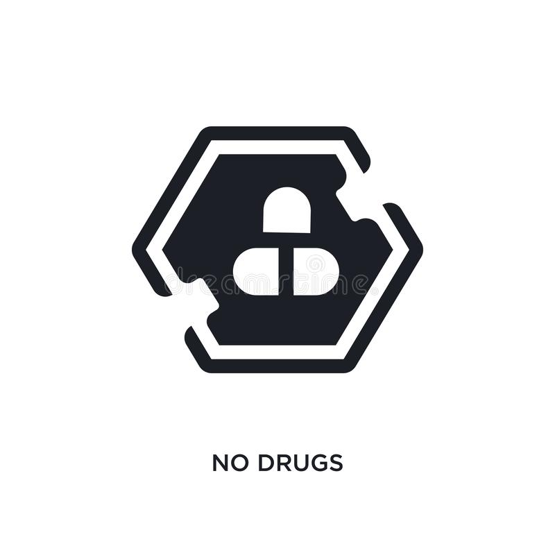 keine Drogen lokalisierten Ikone einfache Elementillustration von den Zeichenkonzeptikonen nicht Logozeichen-Symbolentwurf der Dr stock abbildung