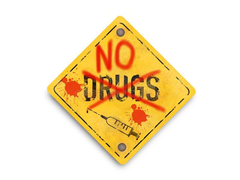 Keine Drogen, Spritze, Logo der künstlerischen Art, Superqualitätszusammenfassungs-Geschäftsplakat lizenzfreie stockfotografie