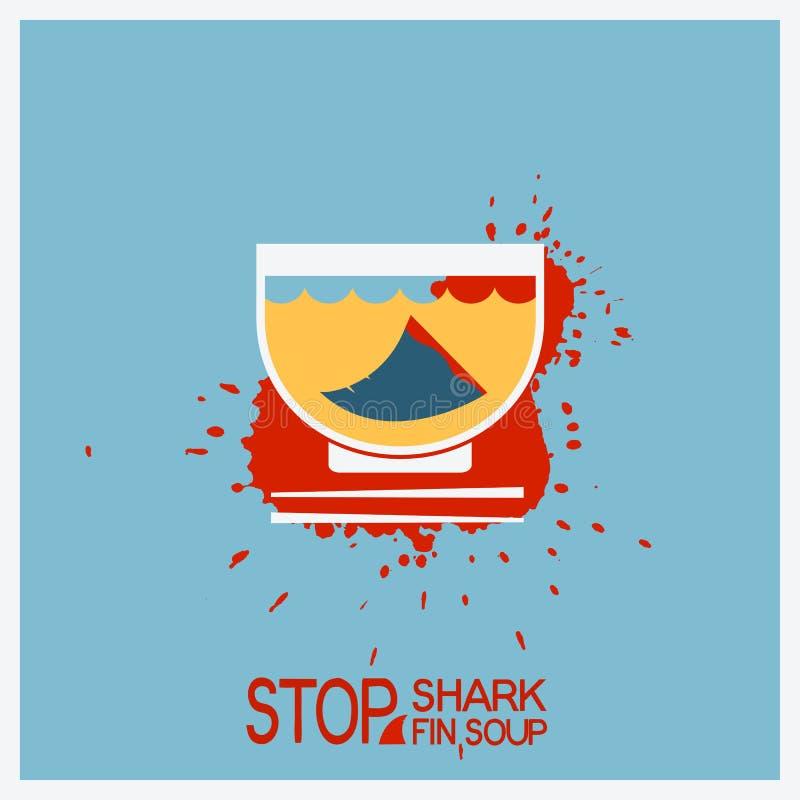 Keine finning Suppe des Bluthaifischs Vektorplakatillustration lizenzfreie abbildung