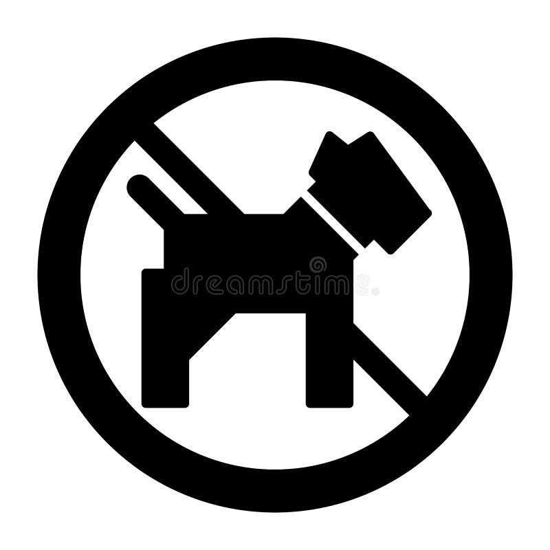 Keine Hundeeinfache Vektorikone Schwarzweißabbildung des Hundes und des verbotenen Zeichens Feste lineare Haustierikone stock abbildung