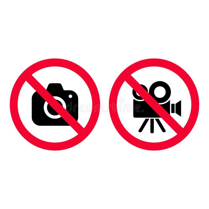 Keine Kamera und roten VideoVerbotszeichen Fotos machen und notierend nicht gewährt Kein fotografierendes Zeichen Keine Videokame lizenzfreie abbildung