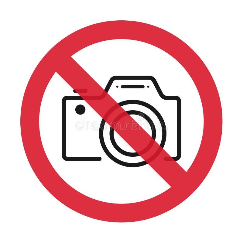 Keine Kameras Zeichen erlaubt Flache Ikone im Rot kreuzte heraus Kreis Auch im corel abgehobenen Betrag lizenzfreie abbildung