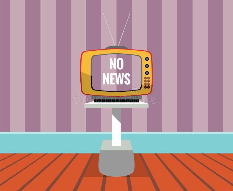 Keine Nachrichten - vector Zeichnung eines FERNSEHERS mit NO-nachrichtenschirm stockfotos