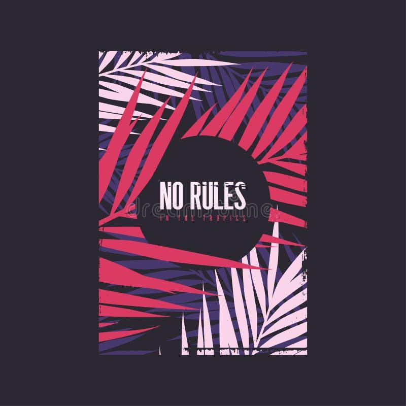 Keine Regeln im Sommer-T-Shirt Entwurf der Tropen grafischen Auch im corel abgehobenen Betrag stock abbildung