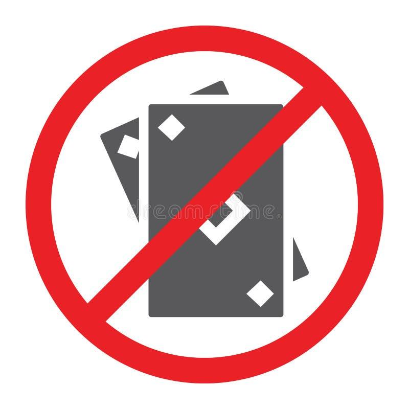 Keine spielende Glyphikone, verboten und verboten, keine Spielkarten unterzeichnen, Vektorgrafik, ein festes Muster auf einem wei lizenzfreie abbildung